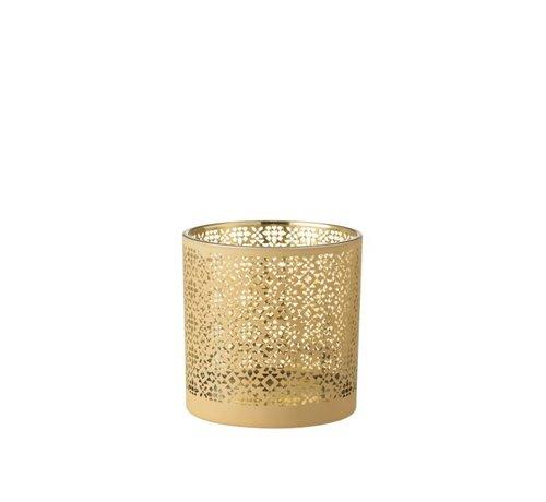 J -Line Theelichthouder Glas Cilinder Oosters Geel Goud - Large