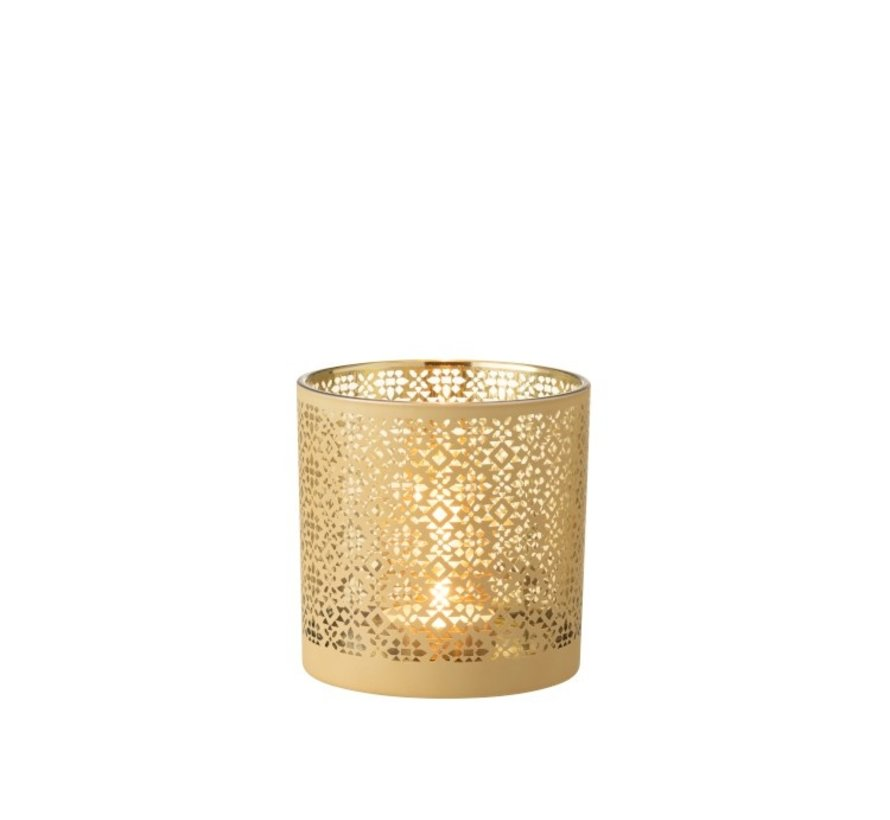 Theelichthouder Glas Cilinder Oosters Geel Goud - Large