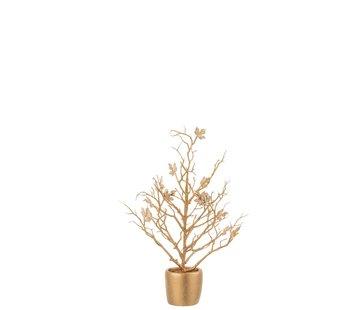 J -Line Decoratie Boompje Kunststof Bladeren Glitter Goud - Small
