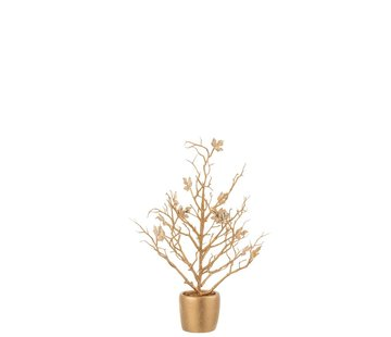 J -Line Decoration Tree Plastic Leaves Glitter Gold - Small