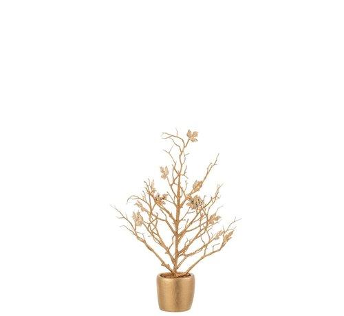 J -Line Decoration Tree Plastic Leaves Glitter Gold - Small