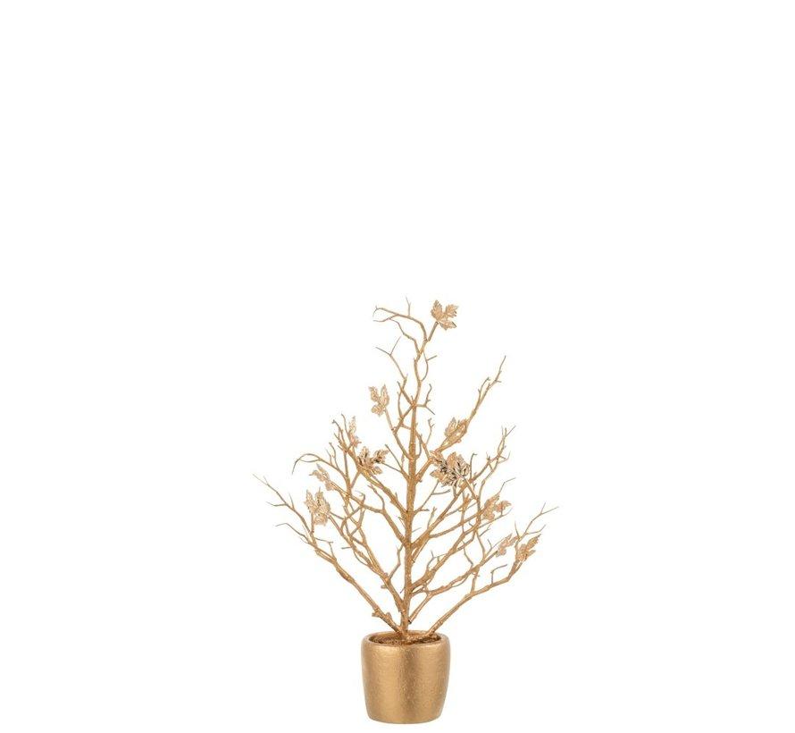 Decoratie Boompje Kunststof Bladeren Glitter Goud - Small