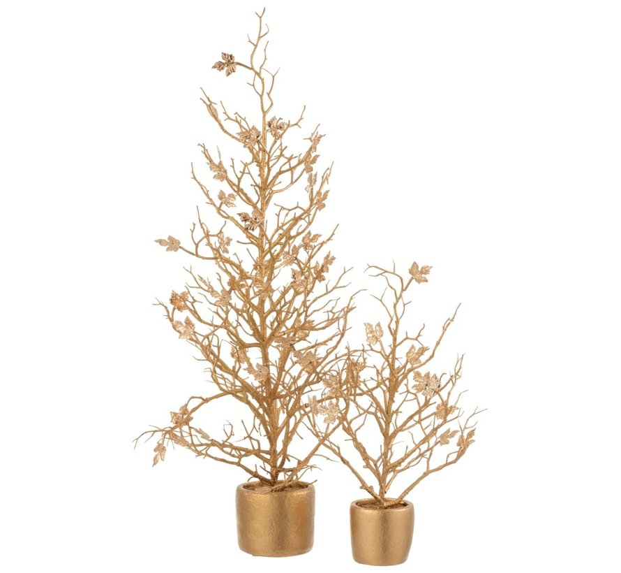 Decoration Tree Plastic Leaves Glitter Gold - Small
