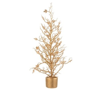 J-Line Decoration Tree Plastic Leaves Glitter Gold - Large