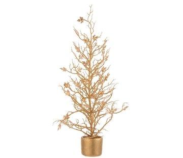 J -Line Decoration Tree Plastic Leaves Glitter Gold - Large