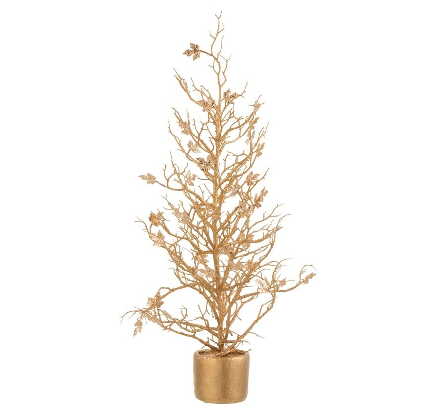 Decoration Tree Plastic Leaves Glitter Gold - Large