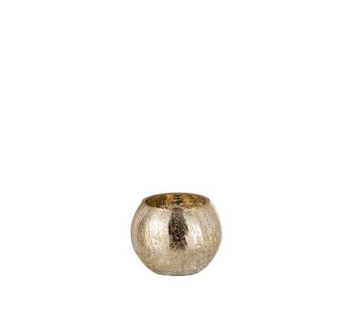 J -Line Tealight holder Bol Glass Crackle Gold - Small