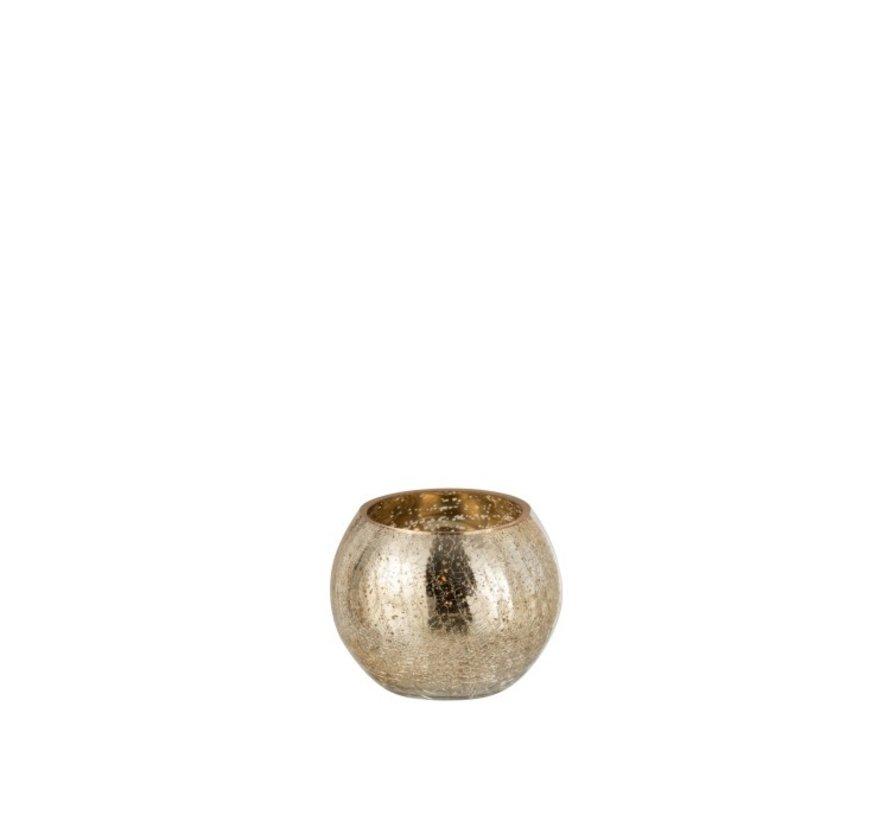 Tealight holder Bol Glass Crackle Gold - Small