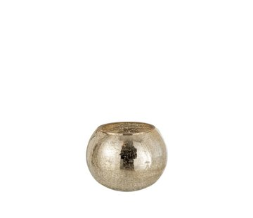 J -Line Tealight holder Bol Glass Crackle Gold - Large