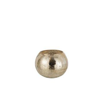 J -Line Theelichthouder Bol Glas Crackle Goud - Large