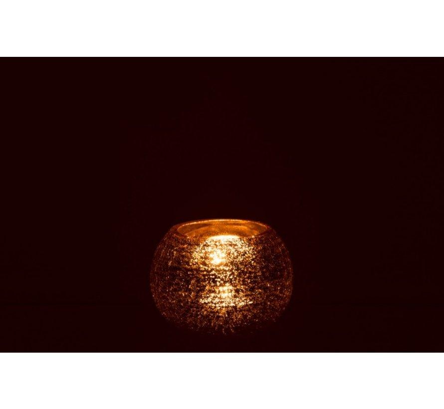 Tealight holder Bol Glass Crackle Gold - Large