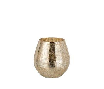 J -Line Theelichthouder Eivorm Glas Crackle Goud - Small
