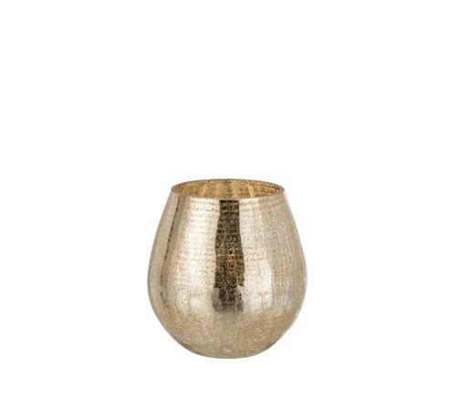 J -Line Tealight Holder Egg Shape Glass Crackle Gold - Small