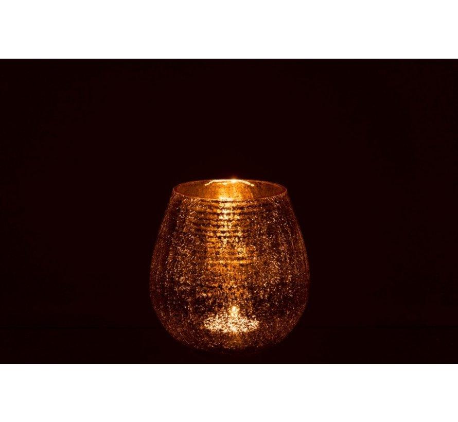 Tealight Holder Egg Shape Glass Crackle Gold - Small