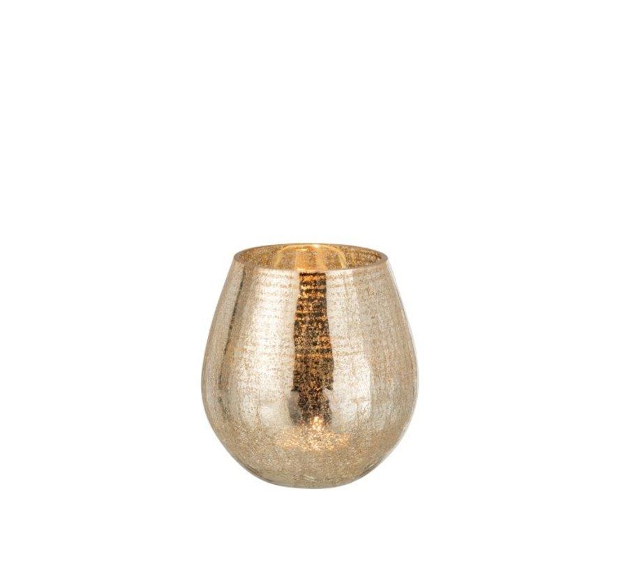 Tealight Holder Egg Shape Glass Crackle Gold - Medium