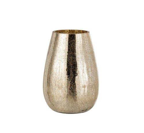 J -Line Tealight Holder Egg Shape Glass Crackle Gold - Large