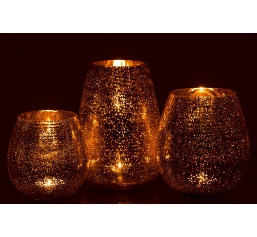 Tealight Holder Egg Shape Glass Crackle Gold - Large