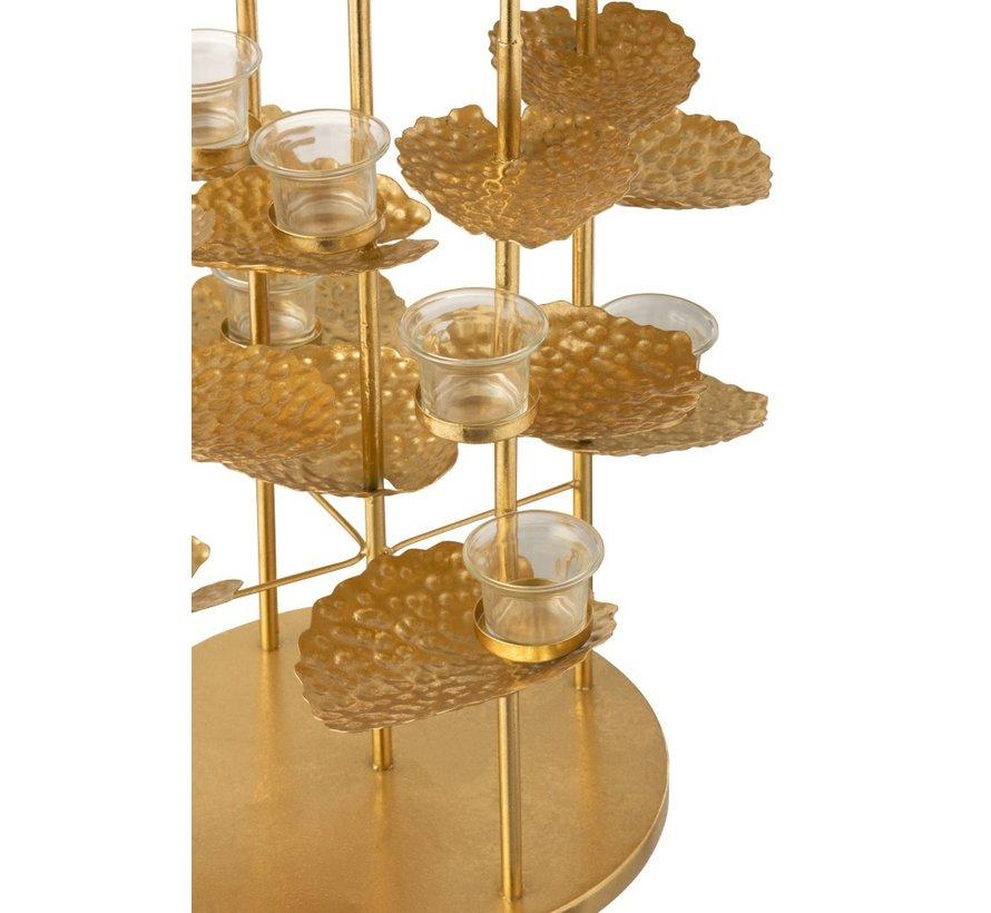 Tealight Holder Flower Aluminum Glass - Gold