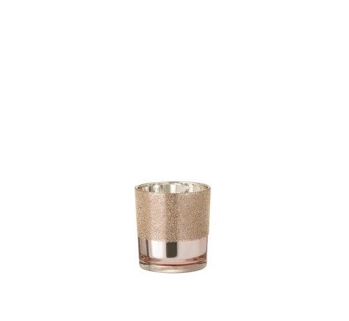 J -Line Theelichthouder Glas Parels Roze Goud - Small