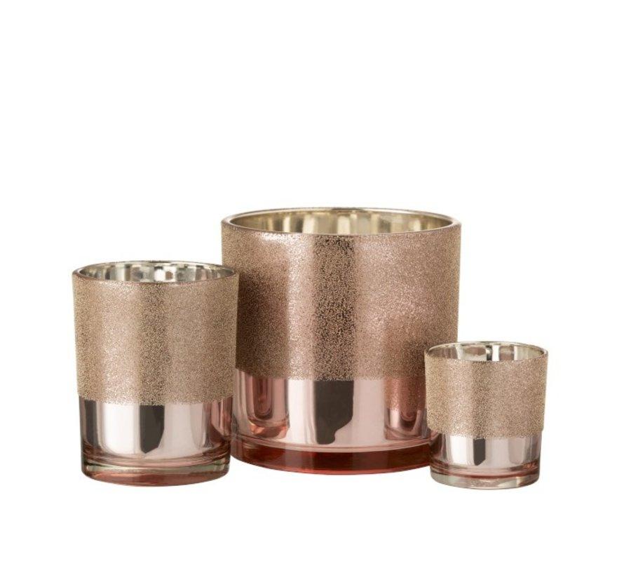Theelichthouder Glas Parels Roze Goud - Small