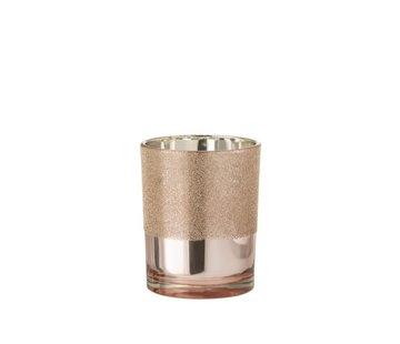 J -Line Theelichthouder Glas Parels Roze Goud - Medium