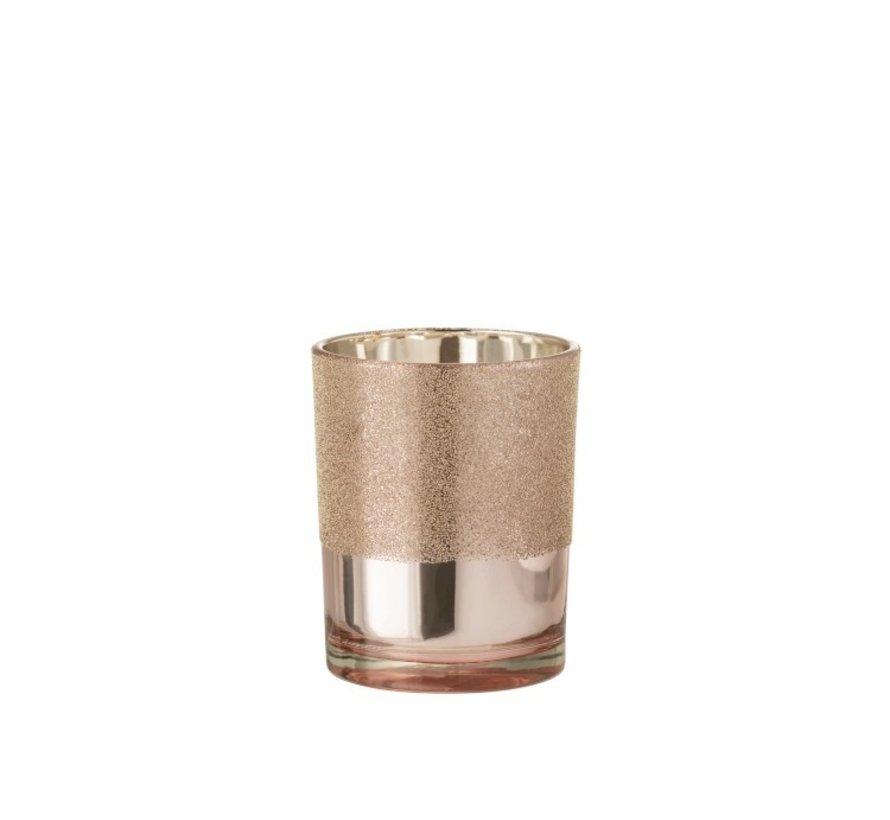Theelichthouder Glas Parels Roze Goud - Medium