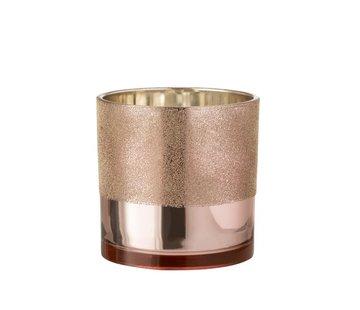 J -Line Theelichthouder Glas Parels Roze Goud - Large