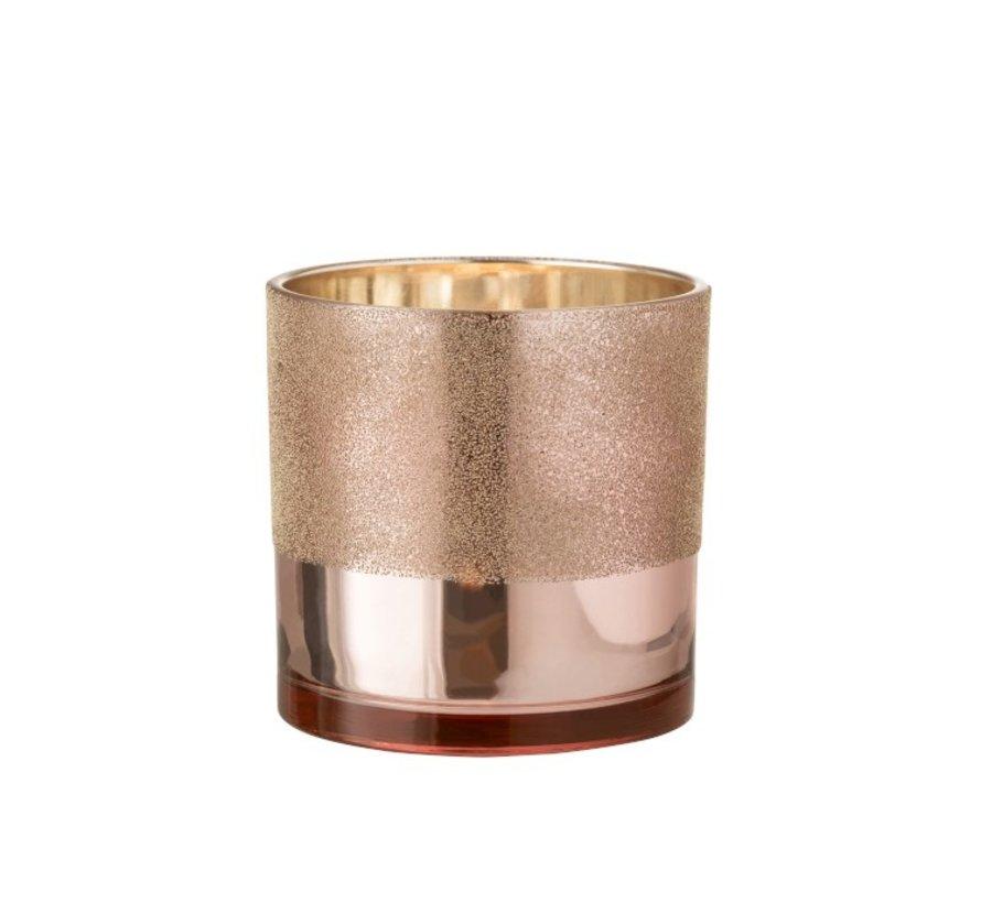 Theelichthouder Glas Parels Roze Goud - Large