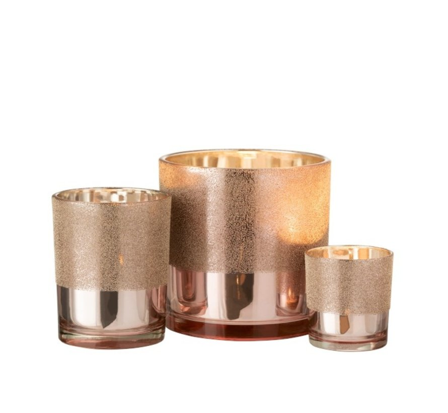 Tealight holder Glass Pearls Pink Gold - Large