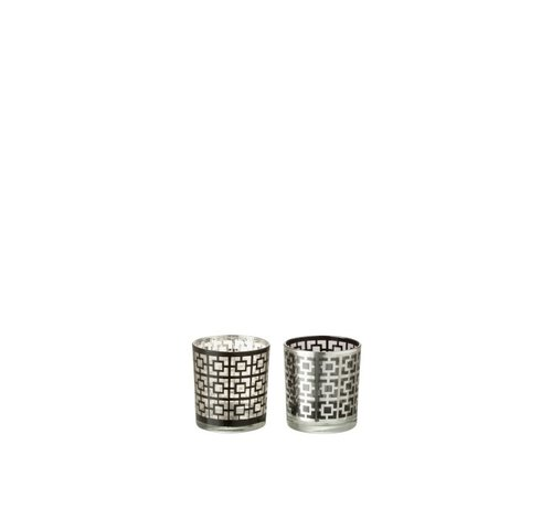 J-Line Theelichthouders Glas Cilinder Vierkanten Zilver Zwart - Small