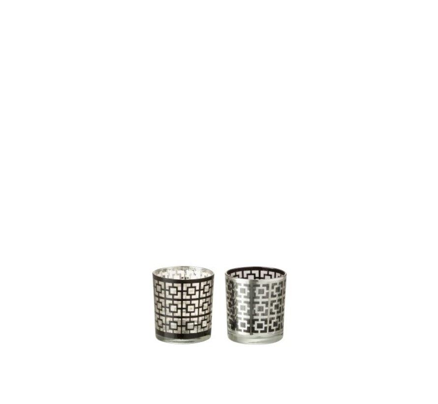Theelichthouders Glas Cilinder Vierkanten Zilver Zwart - Small