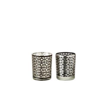 J-Line Theelichthouders Glas Cilinder Vierkanten Zilver Zwart - Medium