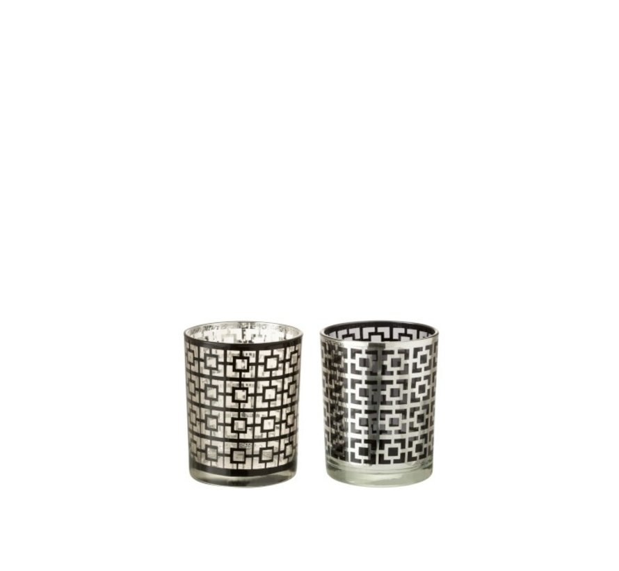 Tealight Holders Glass Cylinder Squares Silver Black - Medium