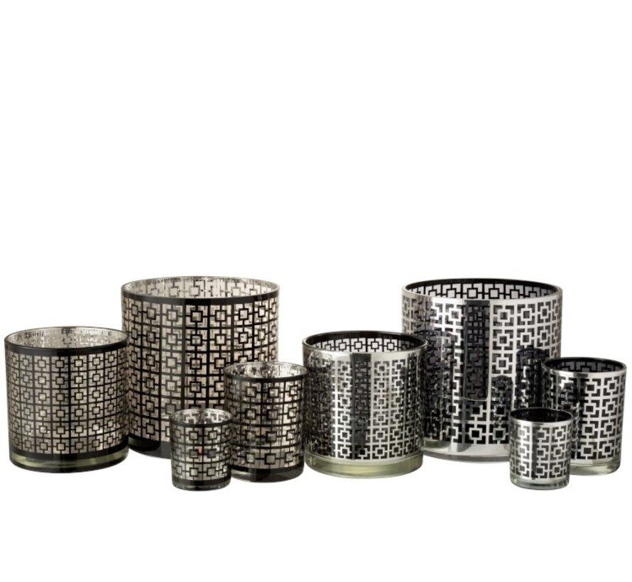 Theelichthouders Glas Cilinder Vierkanten Zilver Zwart - Medium