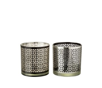 J -Line Theelichthouders Glas Cilinder Vierkanten Zilver Zwart - Large