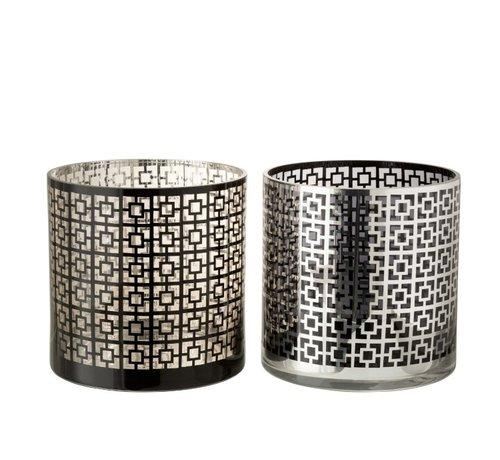 J -Line Theelichthouders Glas Cilinder Vierkanten Zilver Zwart - Extra Large