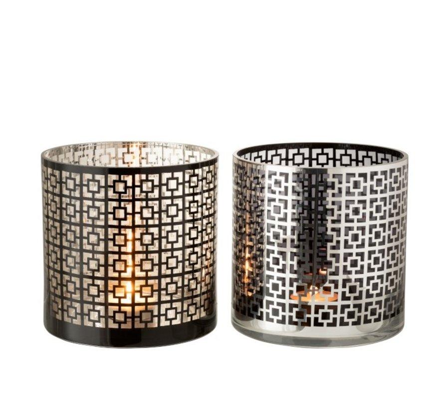 Theelichthouders Glas Cilinder Vierkanten Zilver Zwart - Extra Large