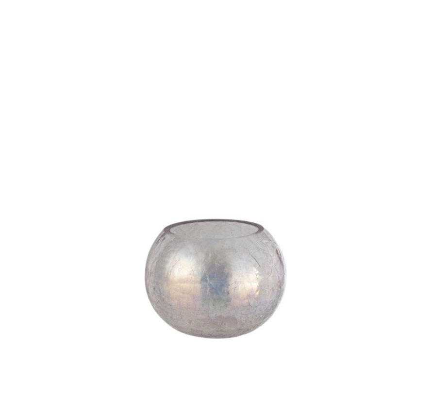 Theelichthouder Glas Rond Crackle Parelmoer Roze - Medium