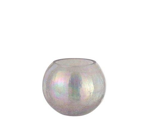 J -Line Theelichthouder Glas Rond Crackle Parelmoer Roze - Large