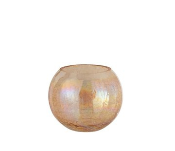 J -Line Tealight Holder Glass Round Crackle Mother of Pearl Amber - Large
