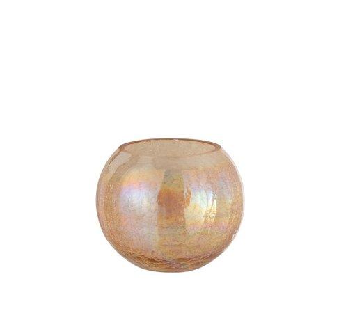 J-Line Theelichthouder Glas Rond Crackle Parelmoer Amber - Large