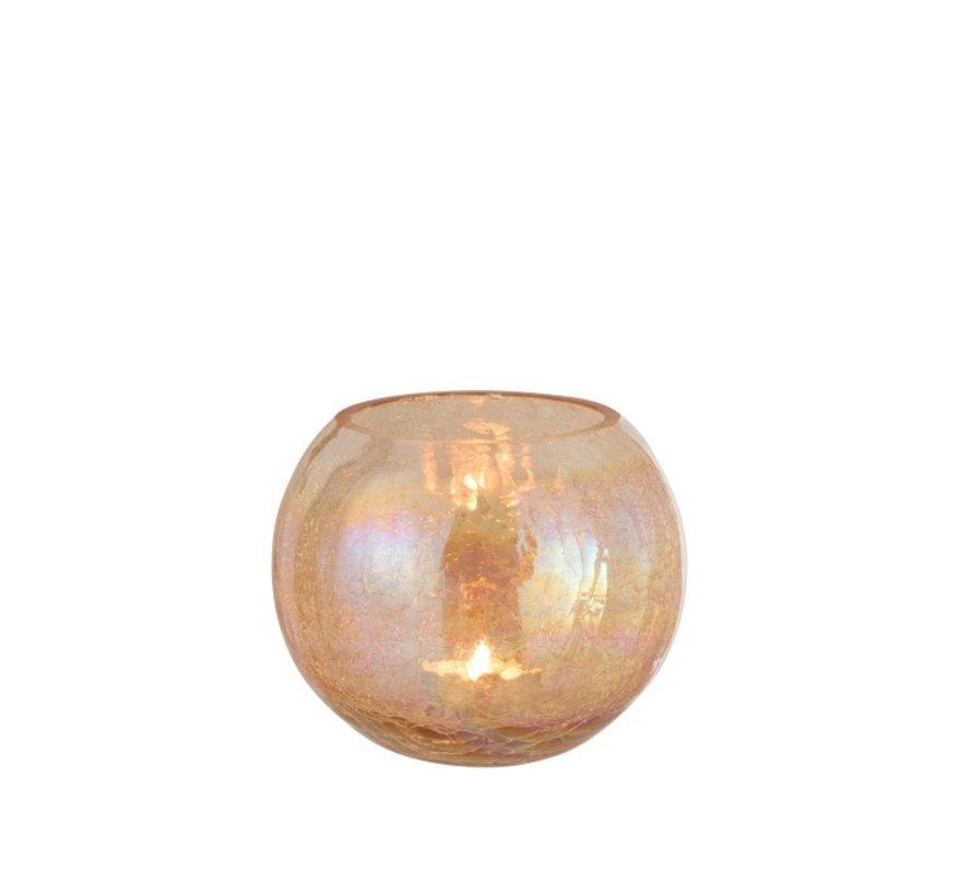 Theelichthouder Glas Rond Crackle Parelmoer Amber - Large