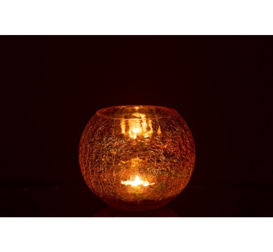 Tealight Holder Glass Round Crackle Mother of Pearl Amber - Large