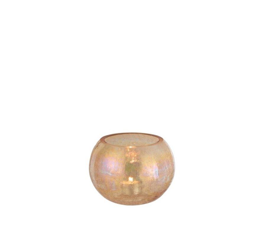 Theelichthouder Glas Rond Crackle Parelmoer Amber - Medium