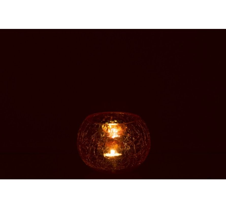 Tealight Holder Glass Round Crackle Mother of Pearl Amber - Medium