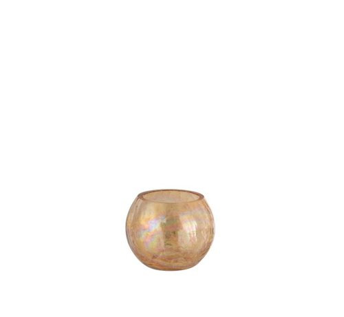 J -Line Theelichthouder Glas Rond Crackle Parelmoer Amber - Small