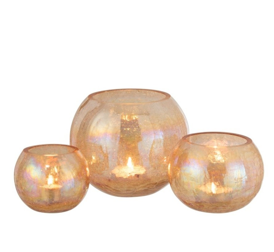 Theelichthouder Glas Rond Crackle Parelmoer Amber - Small