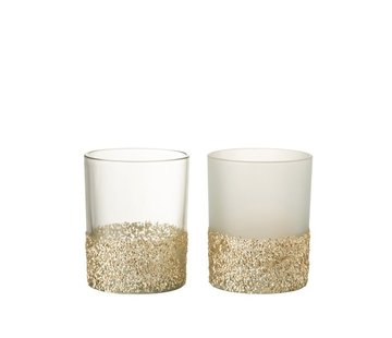 J-Line Theelichthouders Glas Glitters Transparant Opal - Goud