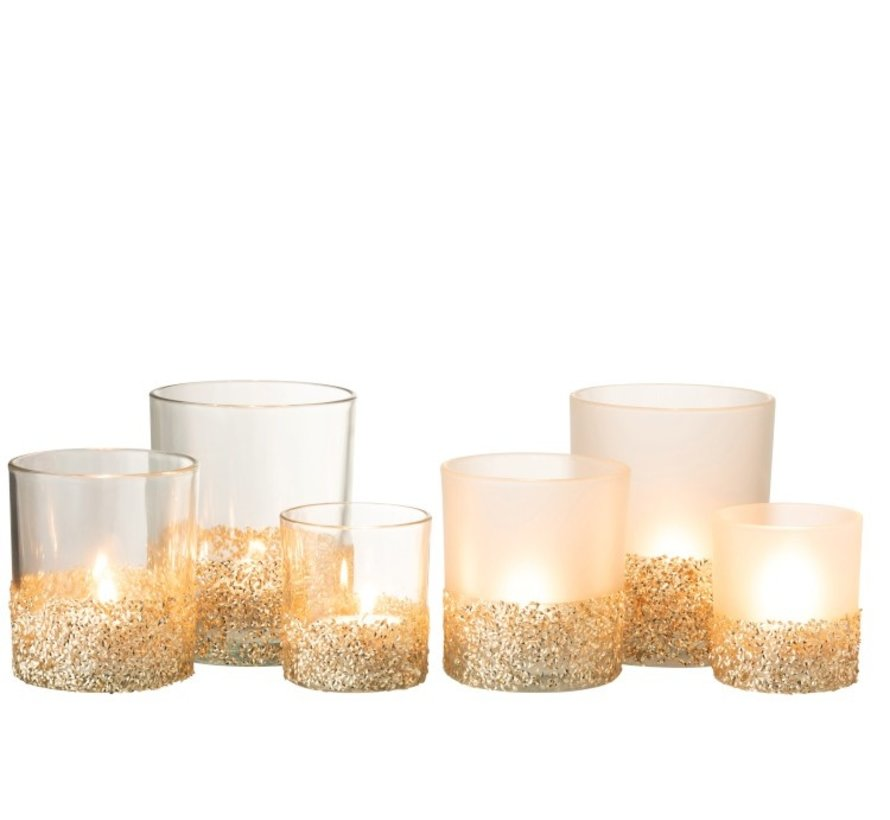 Theelichthouders Glas Glitters Transparant Opal - Goud