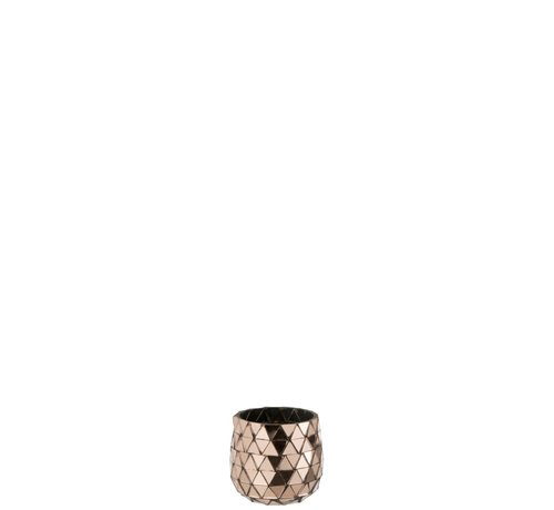 J-Line Tealight Holder Glass Mosaic Triangles - Pink Gold